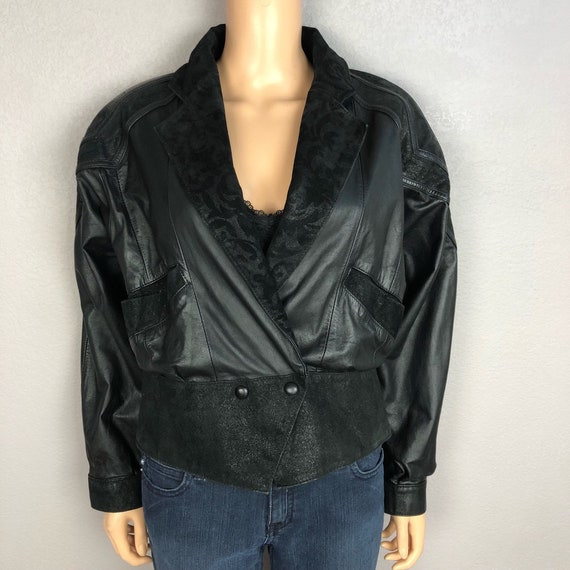 80s Women's Leather Motorcycle Jacket Size Medium Black Oversized Tapered Waist 80s Clothing Epsteam