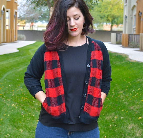 80s Plaid Sweater Three Quarter Length Sleeve Sweater 80s Cardigan Red and Black Plaid Epsteam