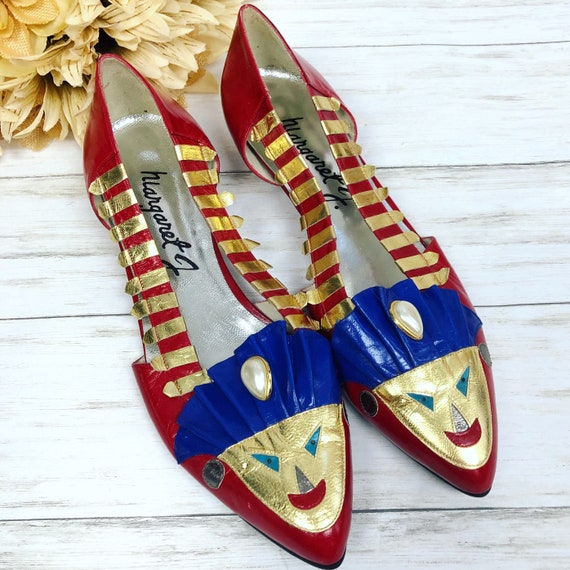 80s Women's Margaret J Mask Face Flats Shoes Size 8M Camp Kitsch Whimsical Leather Flats Epsteam