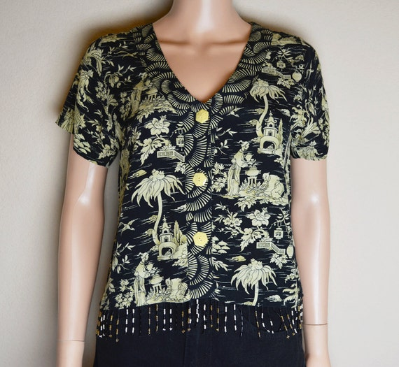 Asian Print Blouse Short Sleeve Beaded Blouse Black and Tan Blouse Cropped Blouse Button-down Blouse Size Small Epsteam