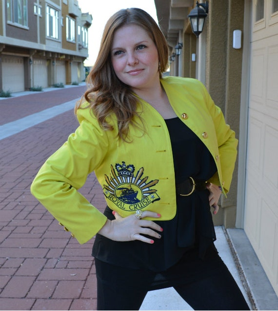 80's Bright Yellow Jacket Resort Nautical Style With Gold Buttons Epsteam