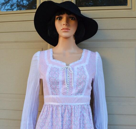70s Women's Pink Prairie Dress Size 2 Long Maxi Dress Long Sleeve Cotton Hippie Festival 70s Clothing Epsteam