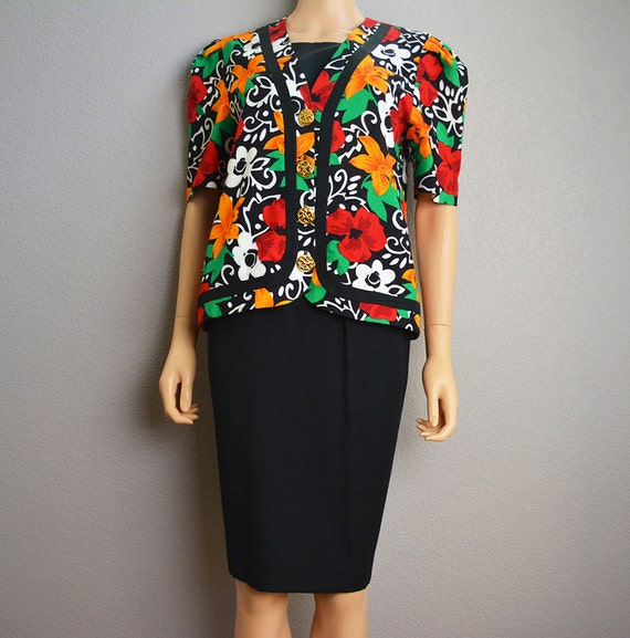 80s Skirt Suit Two Piece Suit Set 80s Clothing Black Skirt With Matching Floral Print Jacket Epsteam