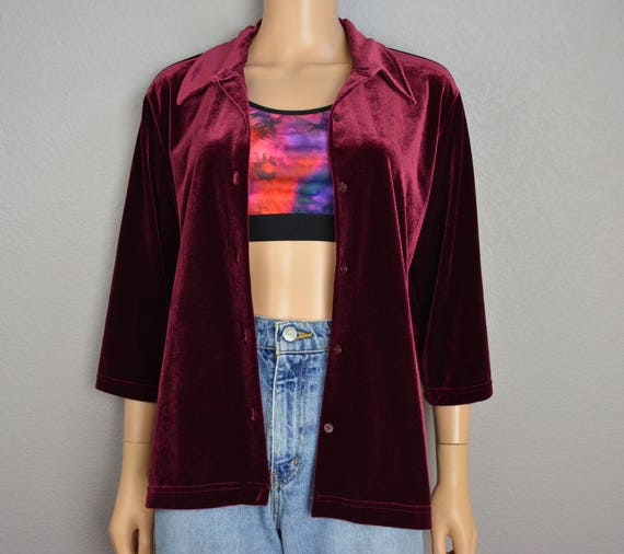 90s Velvet Button Down Shirt Maroon Size Large Three Quarter Length Sleeves 90s Minimalism 90s Clothing Epsteam
