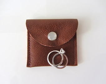 Travel Jewelry Pouch His and Hers Ring Pouch Engagement Ring Pouch Brown Leather Variations
