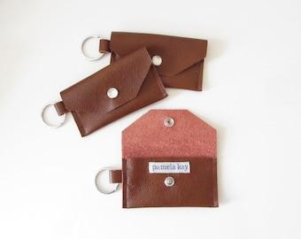 ID Keychain Wallet in Cognac Medium Brown Leather