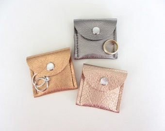 Proposal Engagement Ring Pouch, Travel Jewelry Pouch, His and Her Ring Pouch, Class Ring Pouch Metallic Leathers