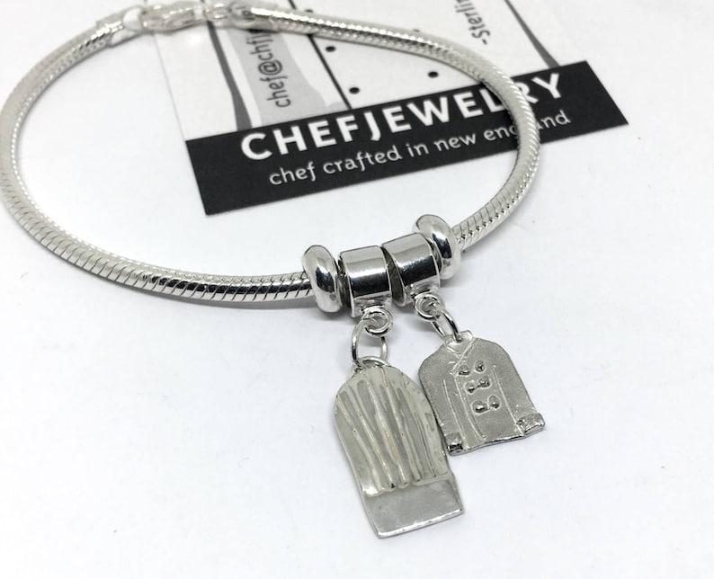 Add a Charm Sterling Chef Uniform Charm Bracelet Bead Charm Bracelet Culinary School Graduation Gift European Style Charm Bracelet
