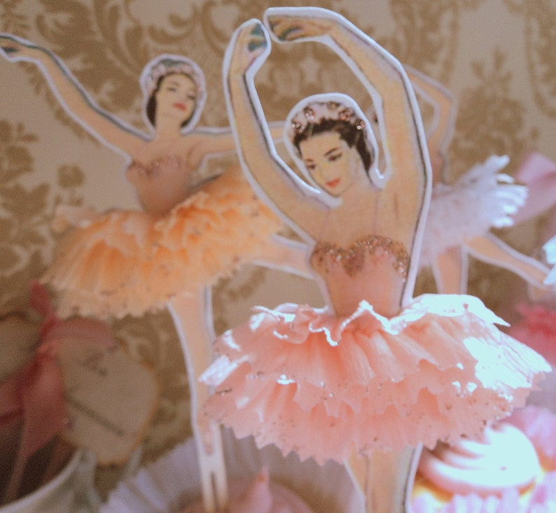 Darling Dancers. Twelve Vintage Style Ballerina Doll Toppers image 0