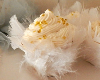 Swan Lake Feathers. Six Fluffy White Feathered Cupcake Wrappers