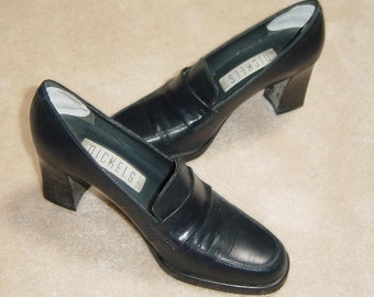 850ae066dc6 vintage nickels black leather loafer pumps made in italy sz 5