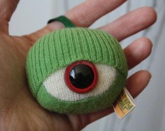 Monster eyeball keychain upcycled plush repurposed sweaters stuffed monster