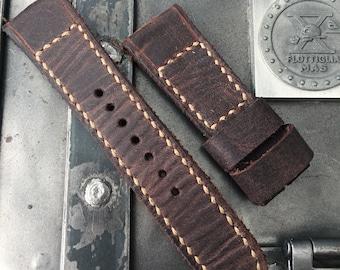 Vintage Dark Brown Leather Watch Strap - Hemp stich
