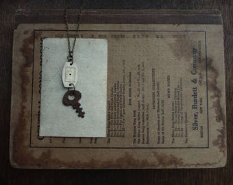 Antique Watchface and Skeleton Key Necklace