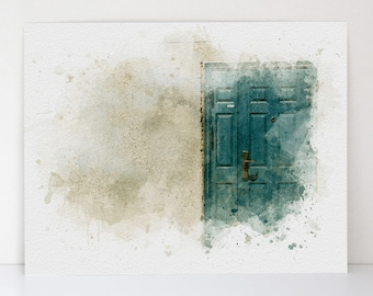 Behind This Door Architecture - Vintage-Inspired Beauty - Aquarelle Watercolor - Canvas Textured Fine Art Print