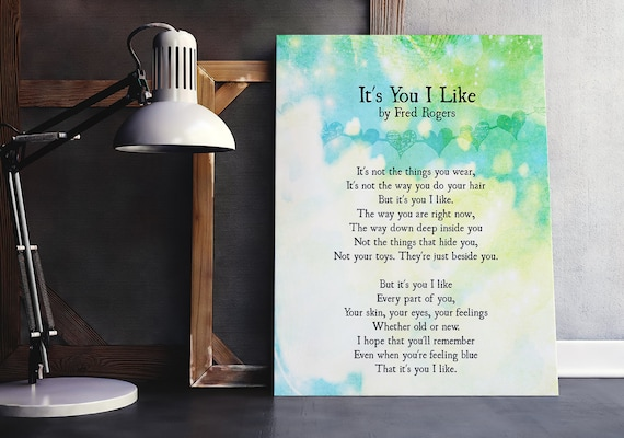 It S You I Like Art Print Encouragement Quote Mr Rogers Etsy