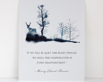If We Will Be Quiet And Ready Enough - Henry David Thoreau - Philosopher and Humanitarian Quote - Canvas Textured Fine Art Print