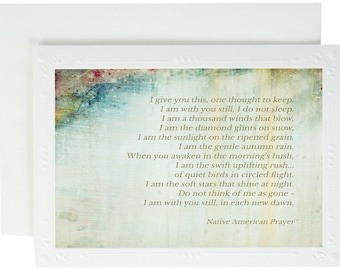 Serene Prayer - Native American Prayer - Spiritual Card - Cherokee Indian Prayer - Serenity Prayer - Grieving - Spiritual Sympathy