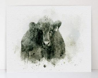Pregnant Mama Cow - Aquarelle Farmhouse Art - Black Cow - Watercolor Animal - Farm Theme - Canvas Textured Fine Art Print - Made in the USA