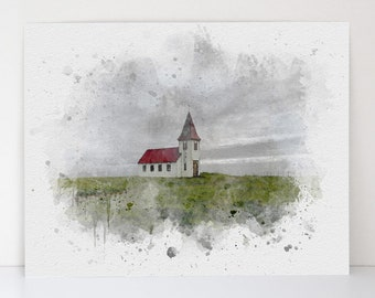 Scenic Aquarelle Art - Chapel On The Hill - Watercolor Church - Christian Giclee Art - Canvas Textured Fine Art Print - Made in the USA