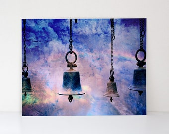 Vintage Church Bells Brought to Life in a Blended Mix of Photography and Watercolors - Canvas-Textured Art Print