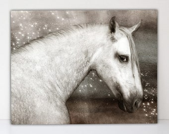 Mystical Gray Horse - Artistic Canvas-Textured Art Print - Equine Lover's Gift