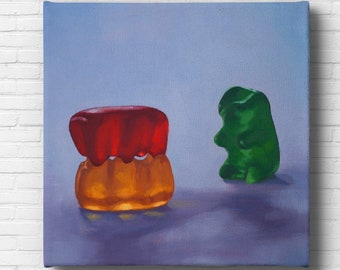 Gummy Bear Voyeur Stretched Canvas Art Print from oil painting - ready to hang, threesome erotic painting for polyamory anniversary gift