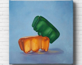 Gummy Bear Hump Stretched Canvas Art Print from oil painting – ready to hang sexy bear art for funny art honeymoon gifts.