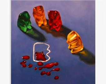 CSI Gummy Bear Art Print from original painting, unusual, funny & unique gift for lovers of crime tv shows, thrillers, mysteries and candy