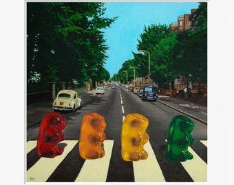 Beatles Abbey Road Gummy Bear Art Print from oil painting - Beatles Album Art parody, record art, Beatle mania, John Lennon, Paul McCartney