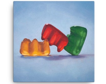 Gummy Bear Threesome Stretched Canvas Art Print from oil painting – ready to hang funny sexy bear art bachelorette party, honeymoon gifts
