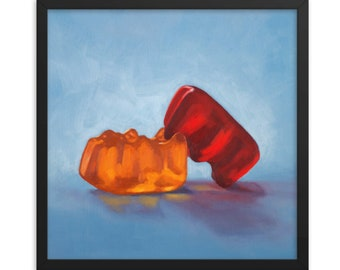 Gummy Bear Date Night Art Print from oil painting - Kinky bear painting funny art for bachelorette party or anniversary gifts LOL