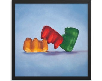Gummy Bear Threesome Framed Art Print from oil painting - ready to hang, sex positive, polyamory, anniversary gift or bachelorette party