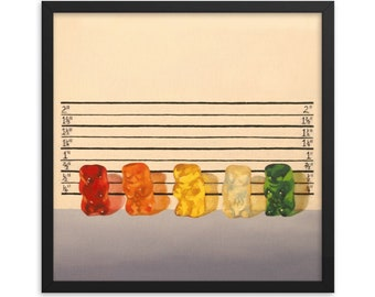 Gummy Bear Line Up Framed Art Print from oil painting - lawyer gift, law enforcement and fans of movie parody and The Usual Suspects.