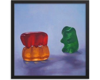 Gummy Bear Voyeur Framed Art Print from oil painting - ready to hang, threesome swinger erotic painting bachelorette party anniversary gift