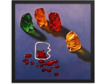 Gummy Bear CSI Crime Scene Framed Art Print from oil painting - cute bear art for law enforcement or lawyer gift