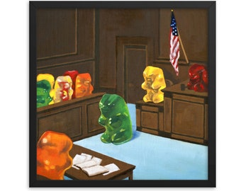Gummy Bear Law And Order framed art print from oil painting - ready to hang, funny birthday gift for a law student, judge or lawyer gift