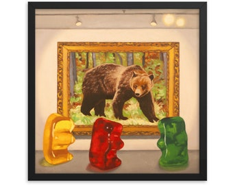Gummy Bear Museum Framed Art Print from oil painting - ready to hang, artist bear painting is a funny art professor or art student gift