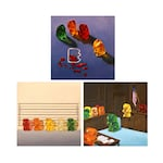 Set of 3 Gummy Bear Art Prints from original painting. Great gift for lovers of crime, mysteries, court dramas, cop shows, humor and candy