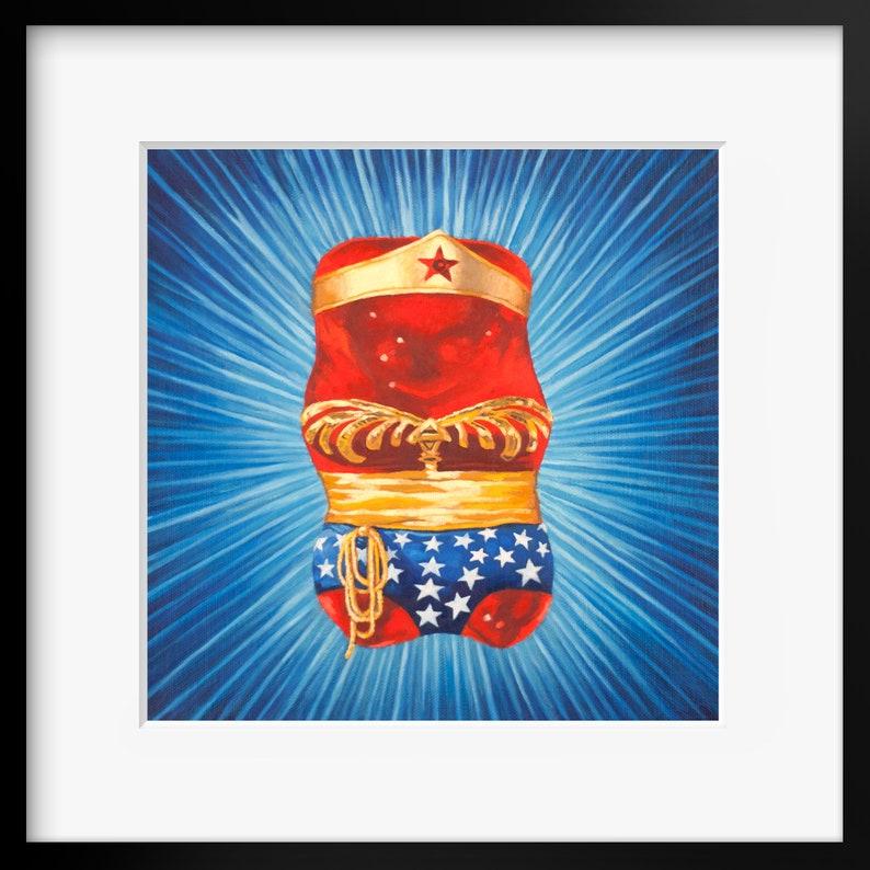 Gummy Bear Wonder Woman art Print from oil painting  cute image 0