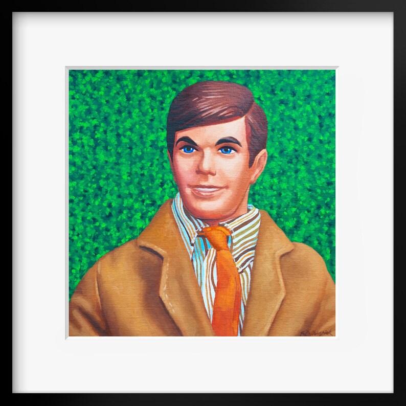 Vintage Ken Doll Barbie art print from oil painting  Retro image 0