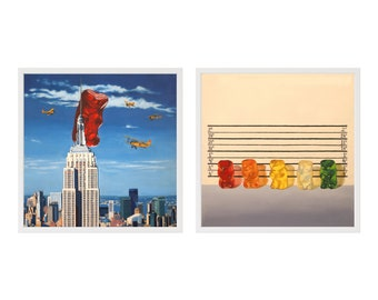 Gummy Kong and Line Up Framed Art Print Set from oil painting  ready to hang funny birthday gift for lovers of pop culture and New York City