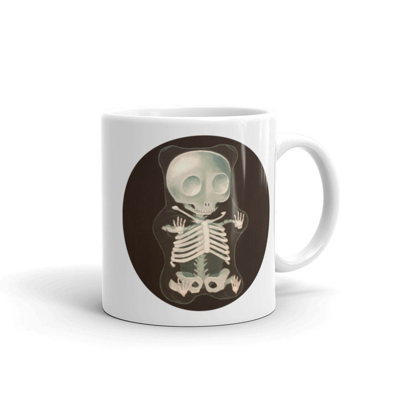 X-Ray Gummy Bear 11 oz mug from original painting. Funny dark image 0