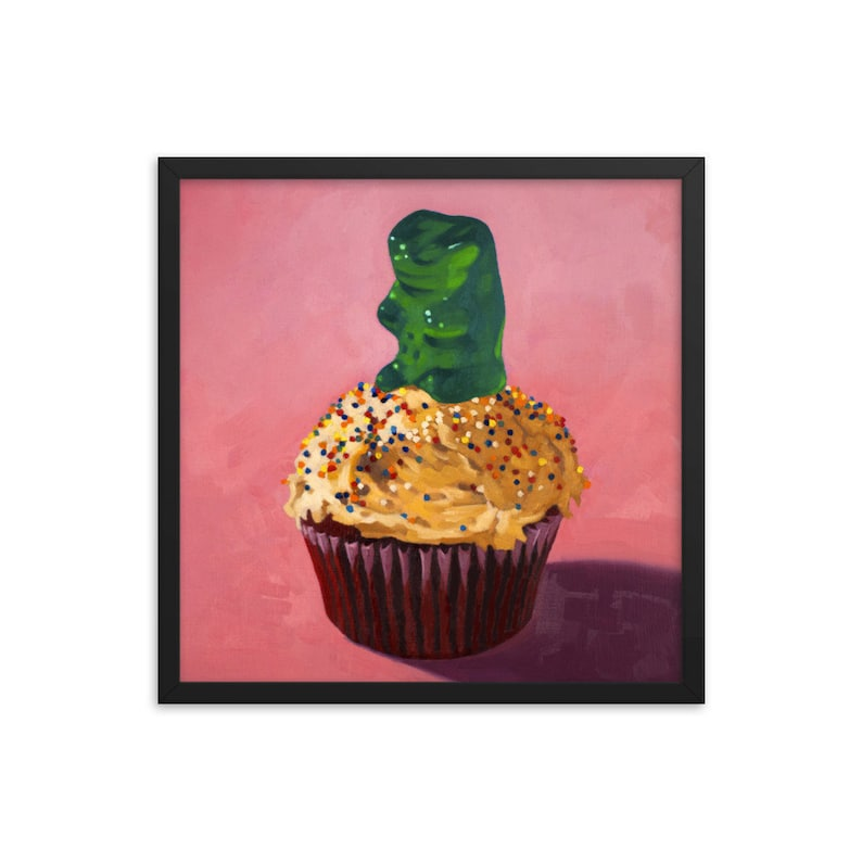 Gummy Bear Cupcake Framed Art Print from oil painting  ready image 0