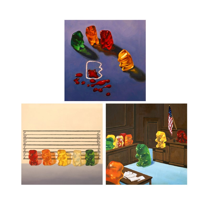 Set of 3 Gummy Bear Art Prints from oil painting  Law and image 0
