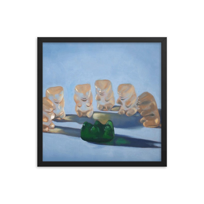 Gummy Bear Scary Framed Art Print from oil painting  ready to image 0