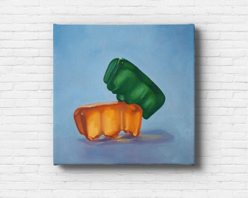 Gummy Bear Hump Stretched Canvas Art Print from oil painting  image 0