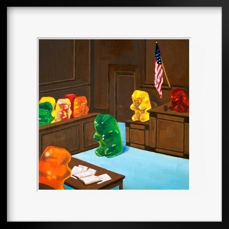 Gummy Bear Law And Order art print from oil painting  funny image 0