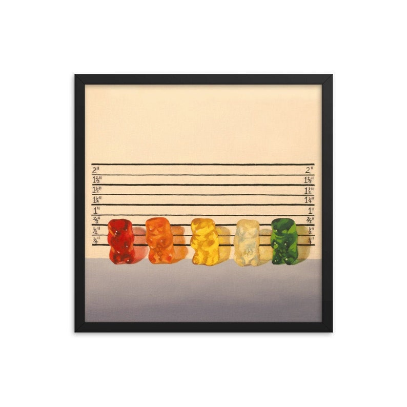 Gummy Bear Line Up Framed Art Print from oil painting  lawyer image 0