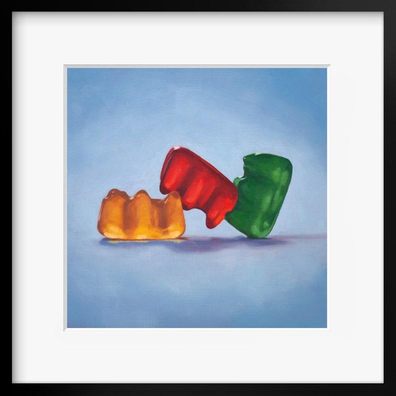 Gummy Bear Threesome Art Print from original painting Fun image 0
